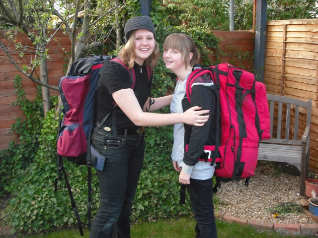 Amy & Rebekka ready for action...how cool is that red backpack!