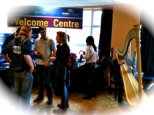 Welcome centre was buzzing today... and who else had a harp in their service today?