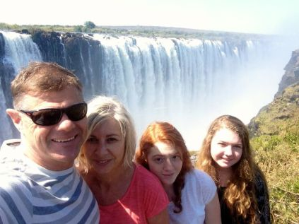 Family getting ready for mighty overflow at the Victoria Falls, Zimbabwe!