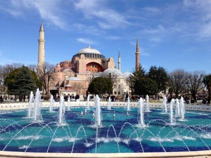 The Hagia Sophia. Build as a church in 500AD, then a Mosque, now a museum, soon to be mosque again...